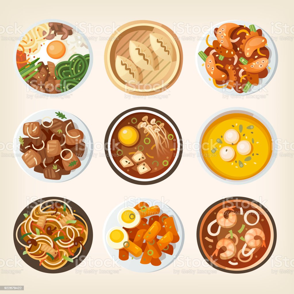 South Korea food from top vector art illustration