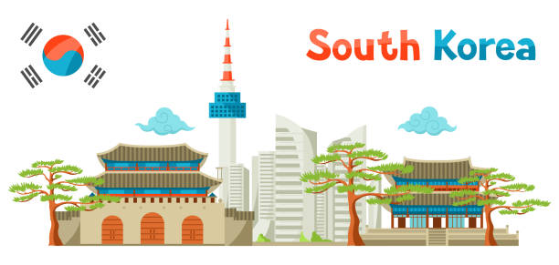 ilustrações, clipart, desenhos animados e ícones de coreia do sul design de fundo de arquitetura histórica e moderna - bandeira da coreia