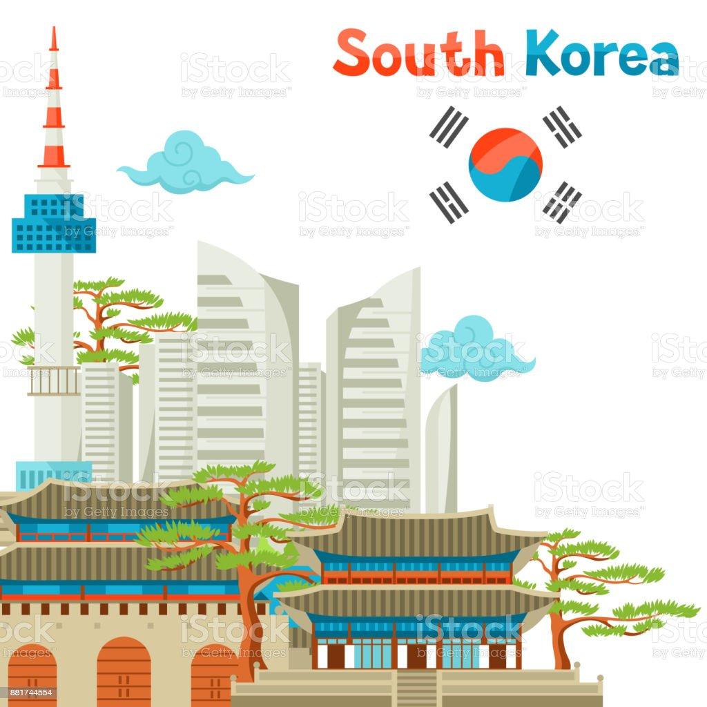 Coreia do Sul design de fundo de arquitetura histórica e moderna - ilustração de arte em vetor