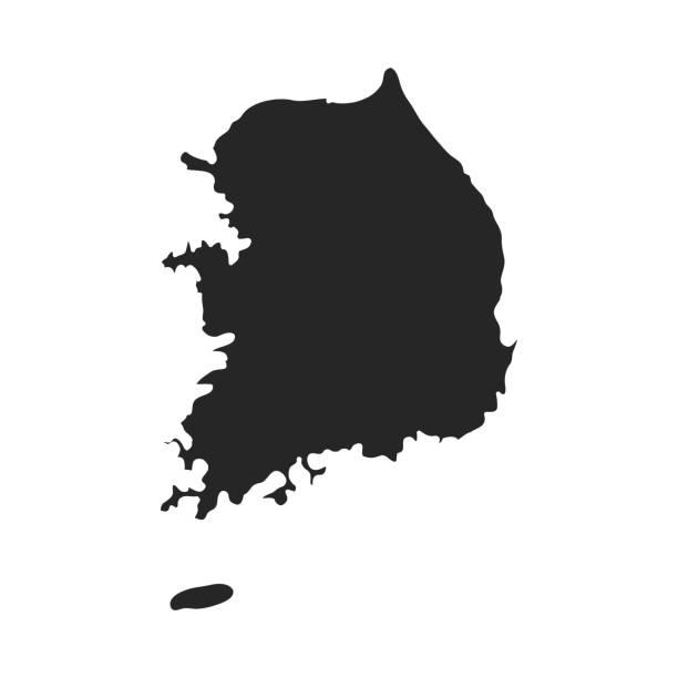 stockillustraties, clipart, cartoons en iconen met pictogram voor zuid-korea in zwarte stijl geïsoleerd op een witte achtergrond. zuid-korea symbool voorraad vectorillustratie. - zuid korea