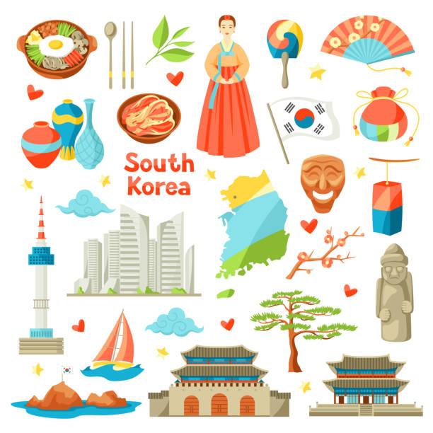 ilustrações, clipart, desenhos animados e ícones de conjunto de ícones de coreia do sul. objetos e símbolos tradicionais coreanos - bandeira da coreia