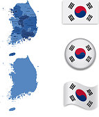 South Korea Map and Flag Collection