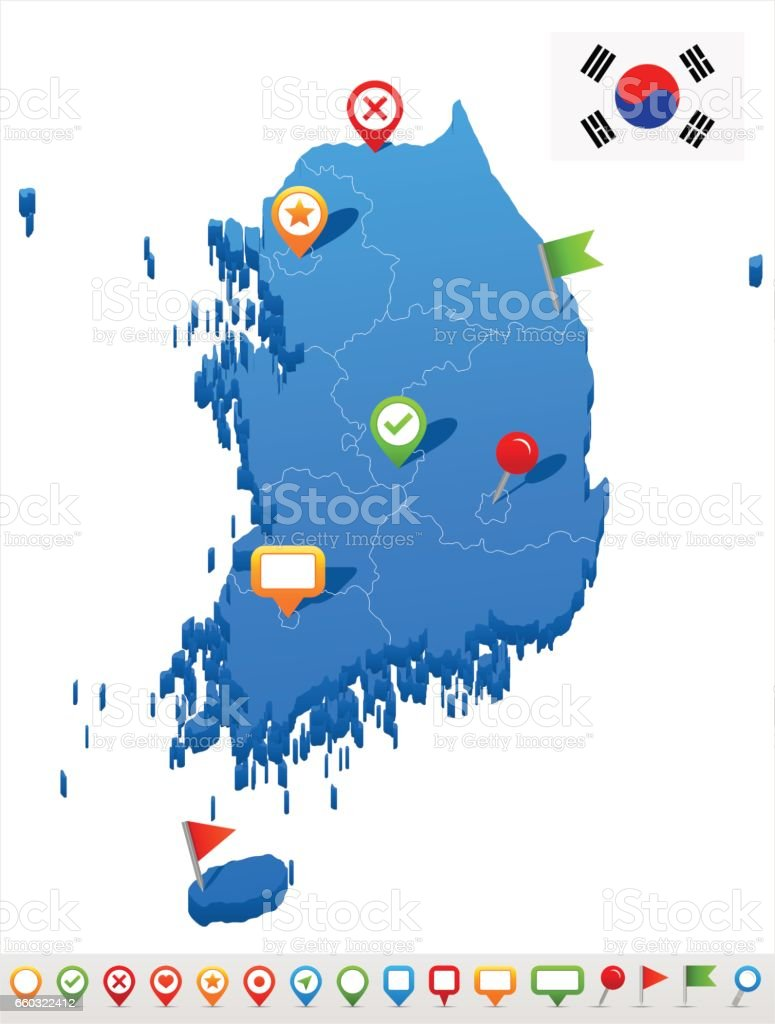 South Korea Map And Flag Illustration Stock Vector Art & More Images on