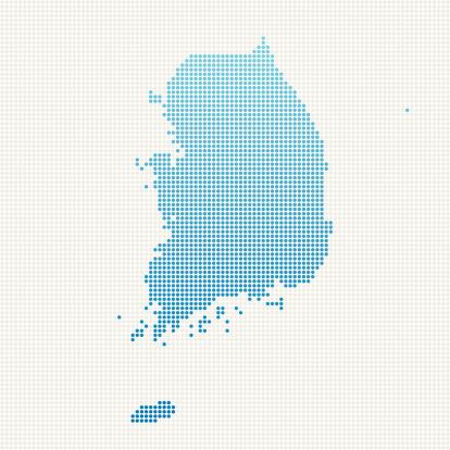 South Korea Map Blue Dot Pattern