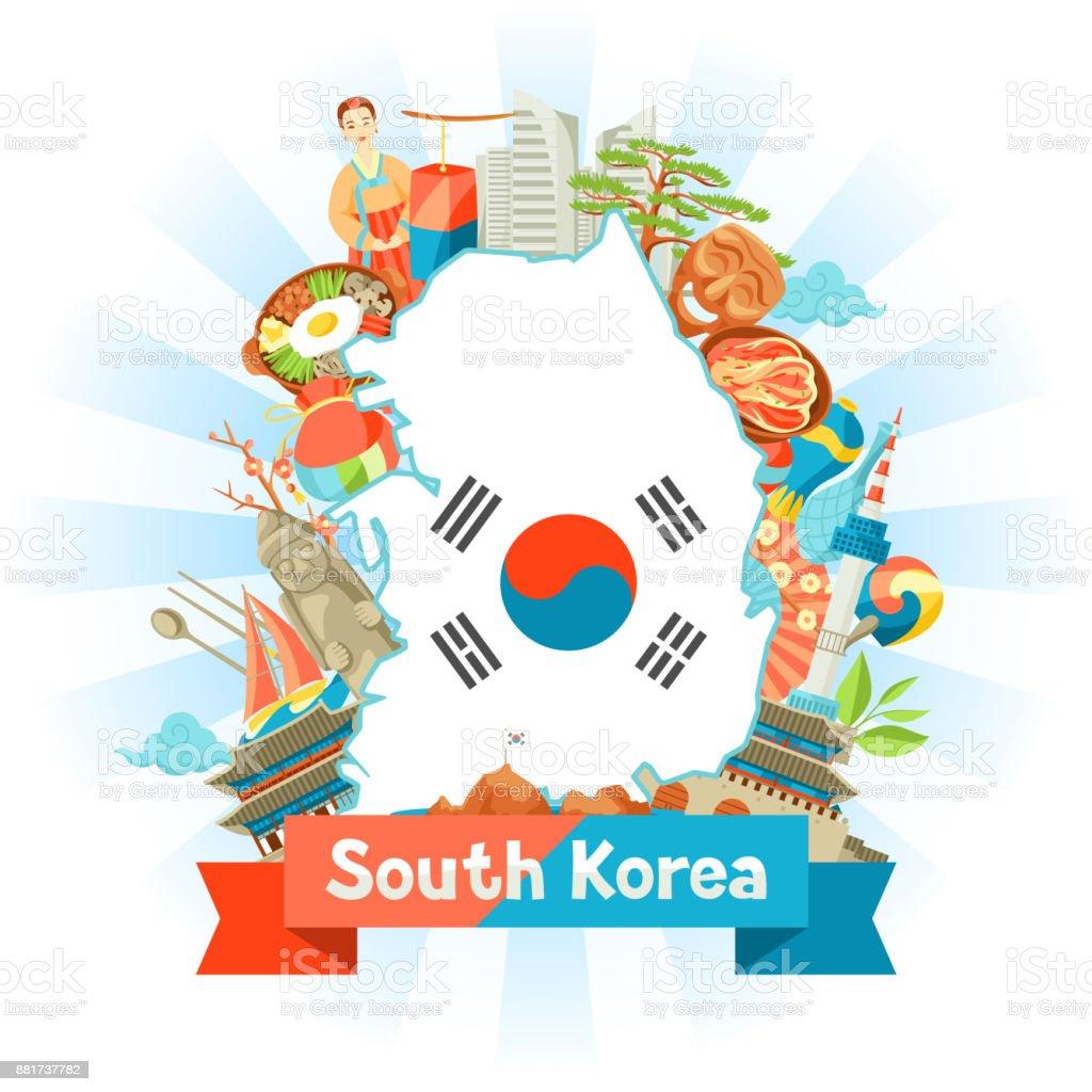 Projeto mapa da Coreia do Sul. Objetos e símbolos tradicionais coreanos - ilustração de arte em vetor