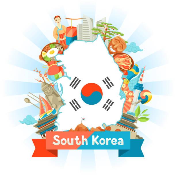 ilustrações, clipart, desenhos animados e ícones de projeto mapa da coreia do sul. objetos e símbolos tradicionais coreanos - bandeira da coreia