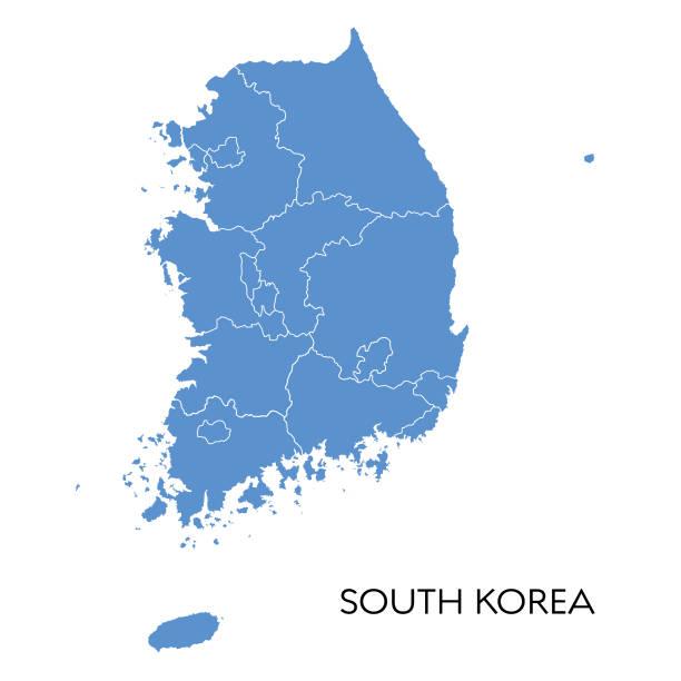 stockillustraties, clipart, cartoons en iconen met kaart zuid-korea - zuid korea