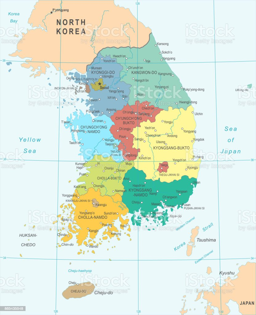 South Korea Map Vector Illustration Stock Vector Art - South korea map vector