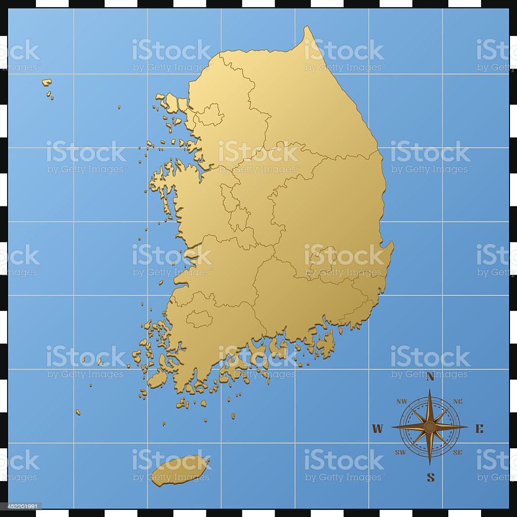 South Korea map with compass rose royalty-free stock vector art