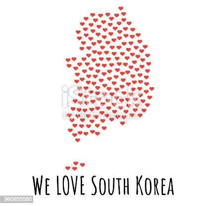 South Korea Map With Red Hearts Symbol Of Love Abstract Background
