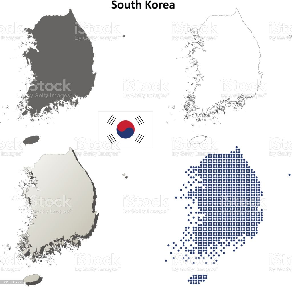 Picture of: South Korea Outline Map Set Stock Illustration Download Image Now Istock