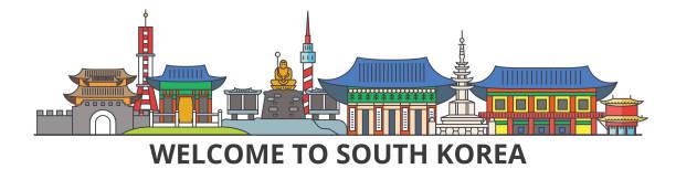 stockillustraties, clipart, cartoons en iconen met skyline van de omtrek van de zuid-korea, koreaanse plat dunne lijn pictogrammen, monumenten, illustraties. stadsgezicht van zuid-korea, koreaanse reizen stad vector banner. stedelijk silhouet - zuid korea