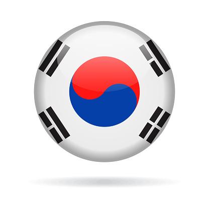 South Korea - Round Flag Vector Glossy Icon