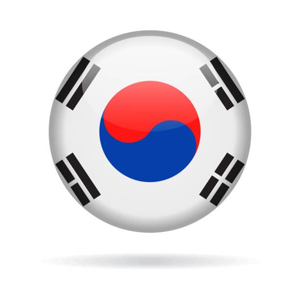 stockillustraties, clipart, cartoons en iconen met zuid-korea - ronde vlagpictogram vector glanzend - zuid korea