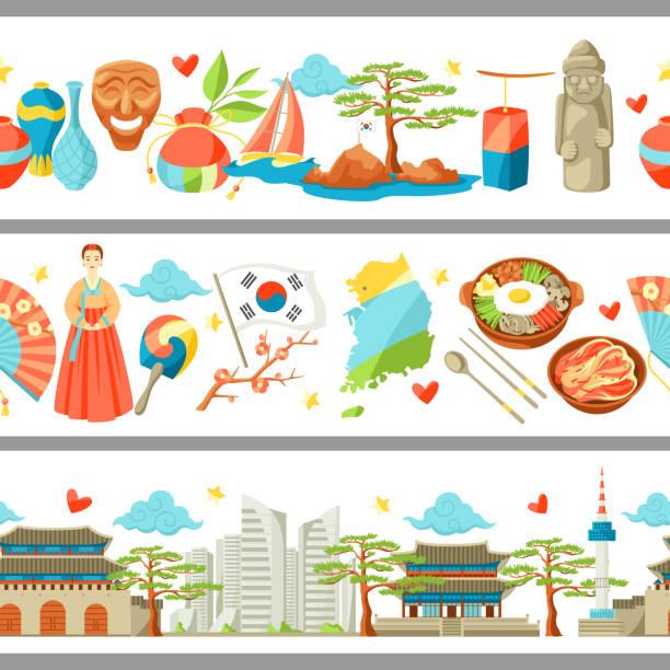 ilustrações, clipart, desenhos animados e ícones de coreia do sul fronteiras sem emenda. objetos e símbolos tradicionais coreanos - bandeira da coreia
