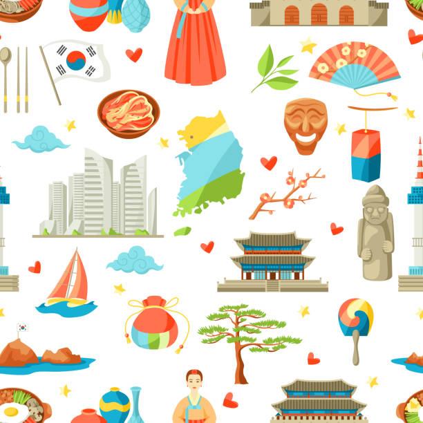 ilustrações, clipart, desenhos animados e ícones de coreia do sul padrão sem emenda. objetos e símbolos tradicionais coreanos - bandeira da coreia