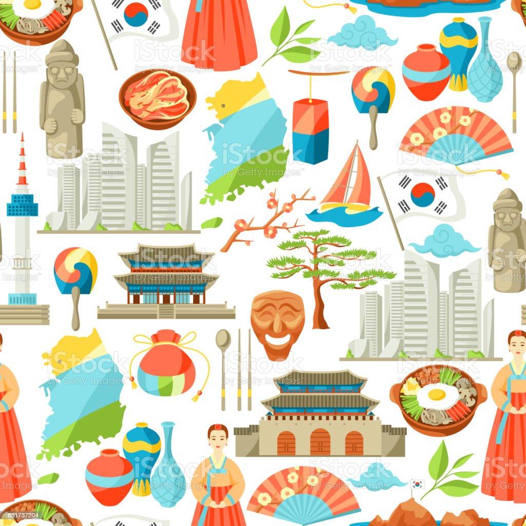 Coreia do Sul padrão sem emenda. Objetos e símbolos tradicionais coreanos - ilustração de arte em vetor