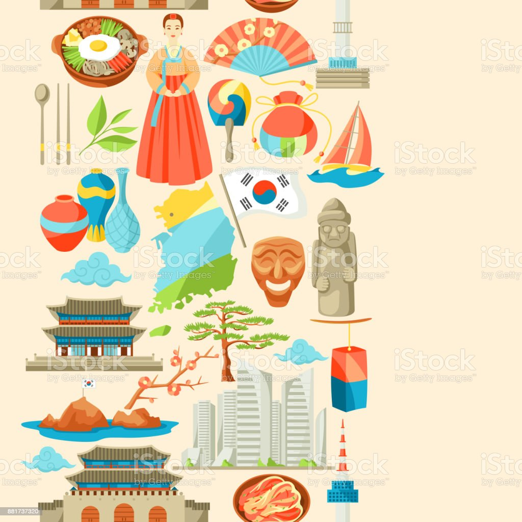 South Korea seamless pattern. Korean traditional symbols and objects vector art illustration