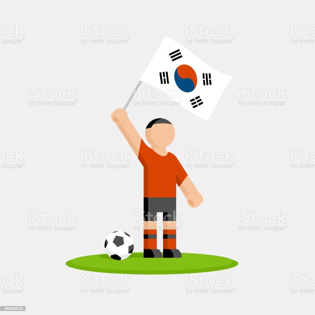 Jogador de futebol da Coreia do Sul no kit com a bandeira e bola - ilustração de arte em vetor