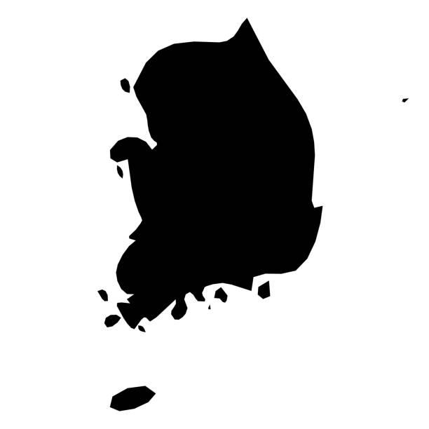 stockillustraties, clipart, cartoons en iconen met zuid-korea - effen zwarte silhouet kaart van land gebied. eenvoudige platte vectorillustratie - zuid korea