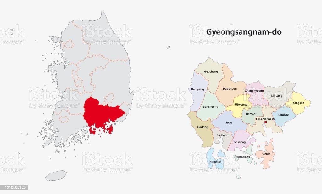 韓国慶尚南道地図 - イラストレ...