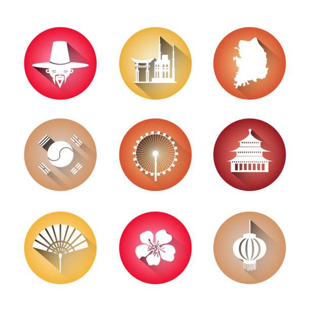 ilustrações, clipart, desenhos animados e ícones de símbolos da coreia do sul conjunto de ícones edifícios tradicionais roupas coreanas mapa bandeira silhuetas - bandeira da coreia