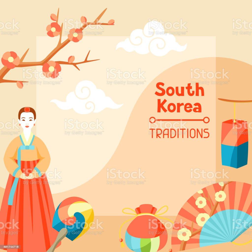 Tradições da Coreia do Sul. Projeto de bandeira coreana com símbolos tradicionais e objetos - ilustração de arte em vetor