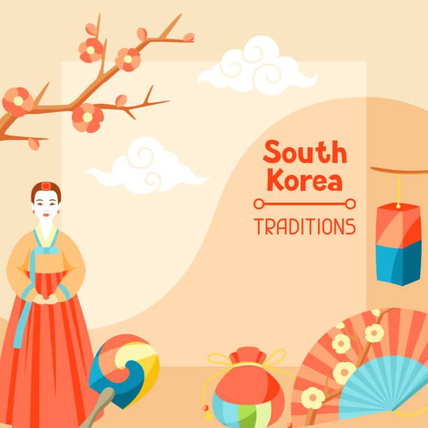 ilustrações, clipart, desenhos animados e ícones de tradições da coreia do sul. projeto de bandeira coreana com símbolos tradicionais e objetos - bandeira da coreia
