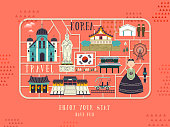 South Korea travel concept poster