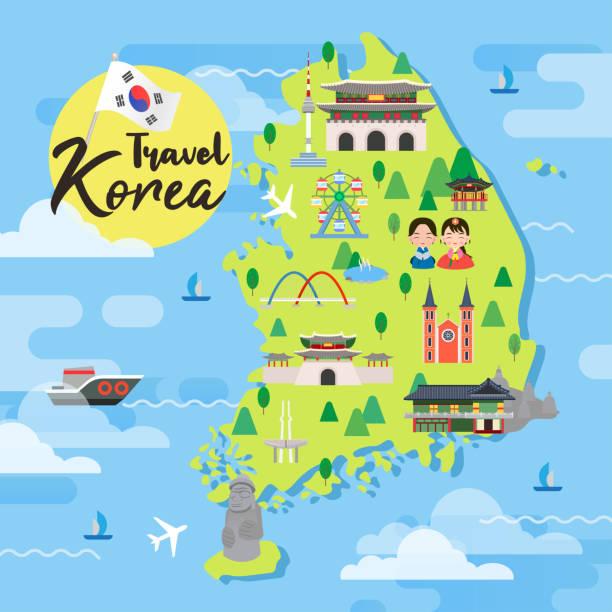 stockillustraties, clipart, cartoons en iconen met zuid-korea reizen kaart vector illustratie, attracties in platte ontwerp. - zuid korea