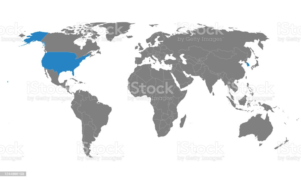 Image of: South Korea Usa Political Map Highlighted On World Map Stock Illustration Download Image Now Istock