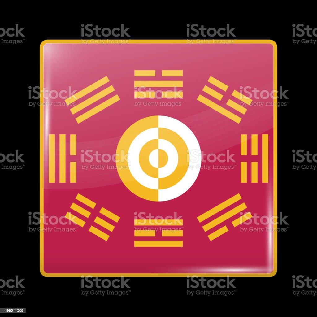 South Korea Variant Flag. Glassy Icon Square Shape vector art illustration