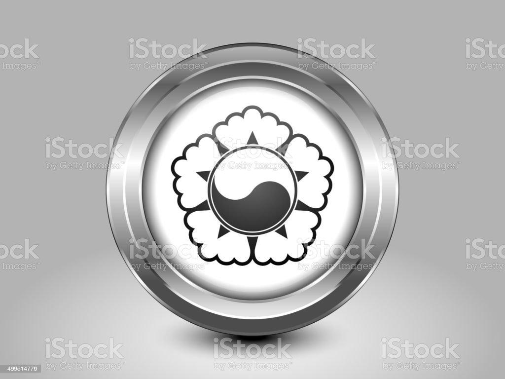 South Korea Variant Flag. Metal Round Icon vector art illustration