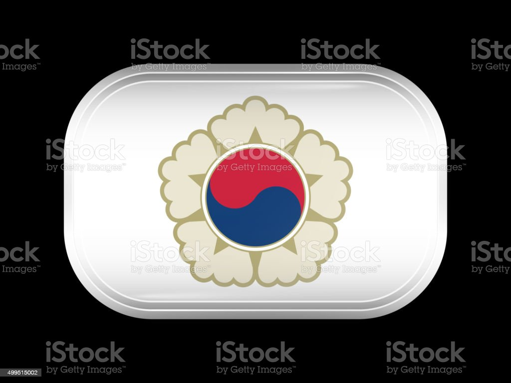 South Korea Variant Flag. Rectangular Shape with Rounded Corners vector art illustration