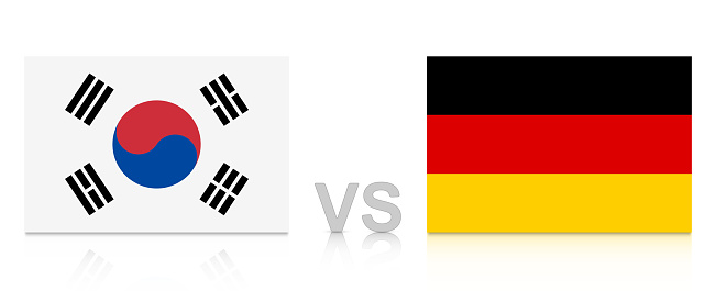 South Korea vs. Germany. Russia 2018. National flags with reflection isolated on white background.