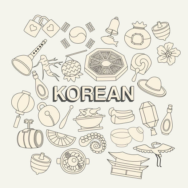 South Korean Doodles Vector Art Illustration