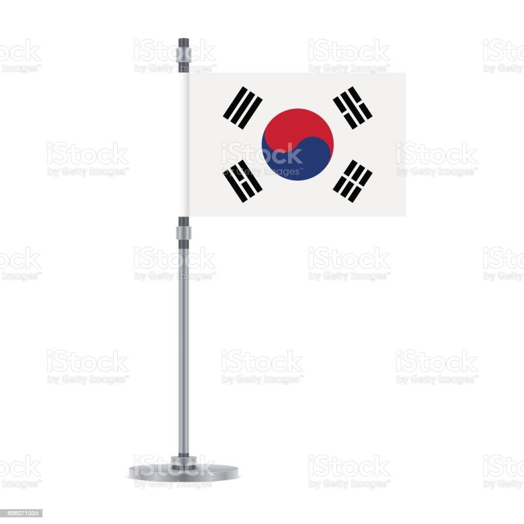 Bandeira sul-coreana no poste metálico, ilustração vetorial - ilustração de arte em vetor