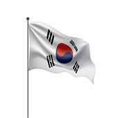 South Korean national flag, vector illustration on a white background