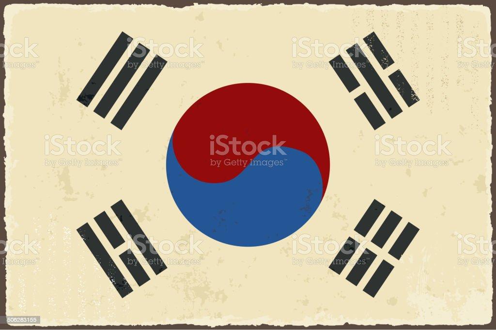 South Korean grunge flag. vector art illustration