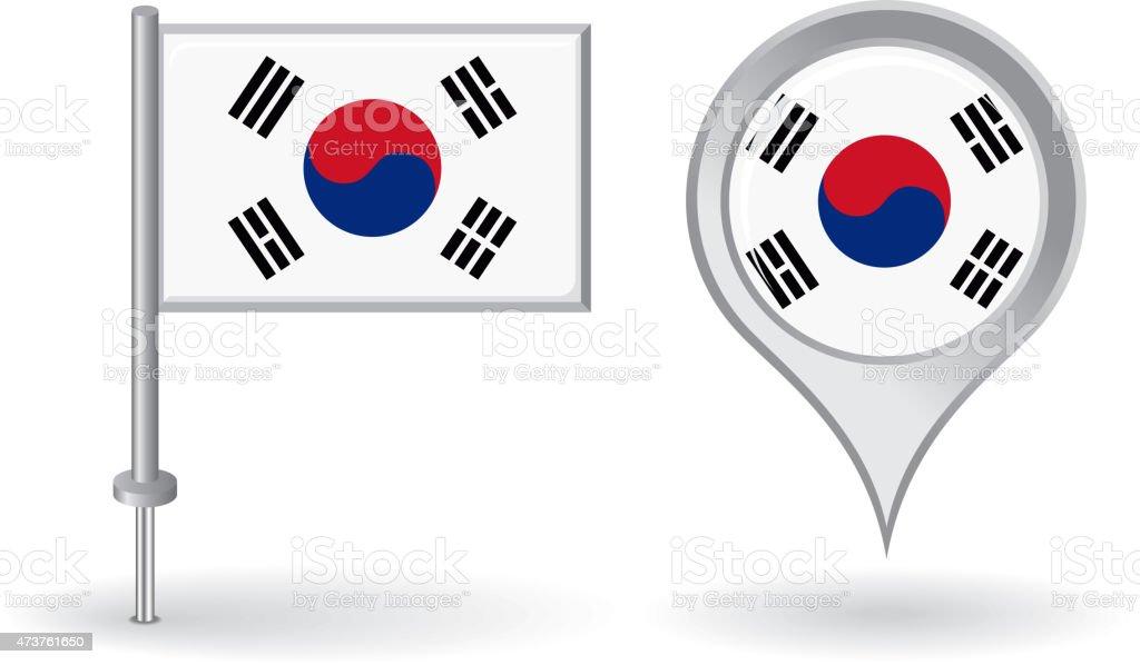 Da Coreia do Sul e mapa Ponteiro de pin ícone de bandeira.   Vetor - ilustração de arte em vetor