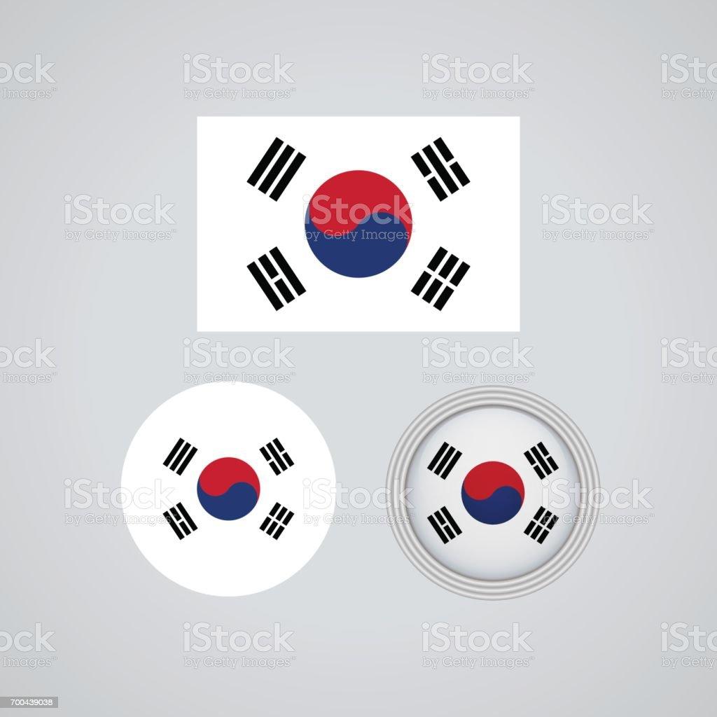 Sinalizadores de trio sul-coreano, ilustração vetorial - ilustração de arte em vetor