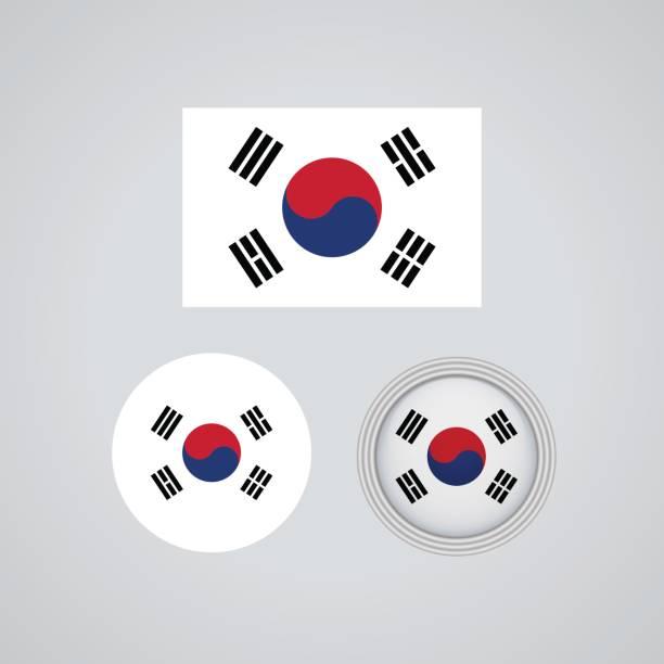 韓国トリオ フラグ、ベクトル イラスト - 韓国の国旗点のイラスト素材/クリップアート素材/マンガ素材/アイコン素材