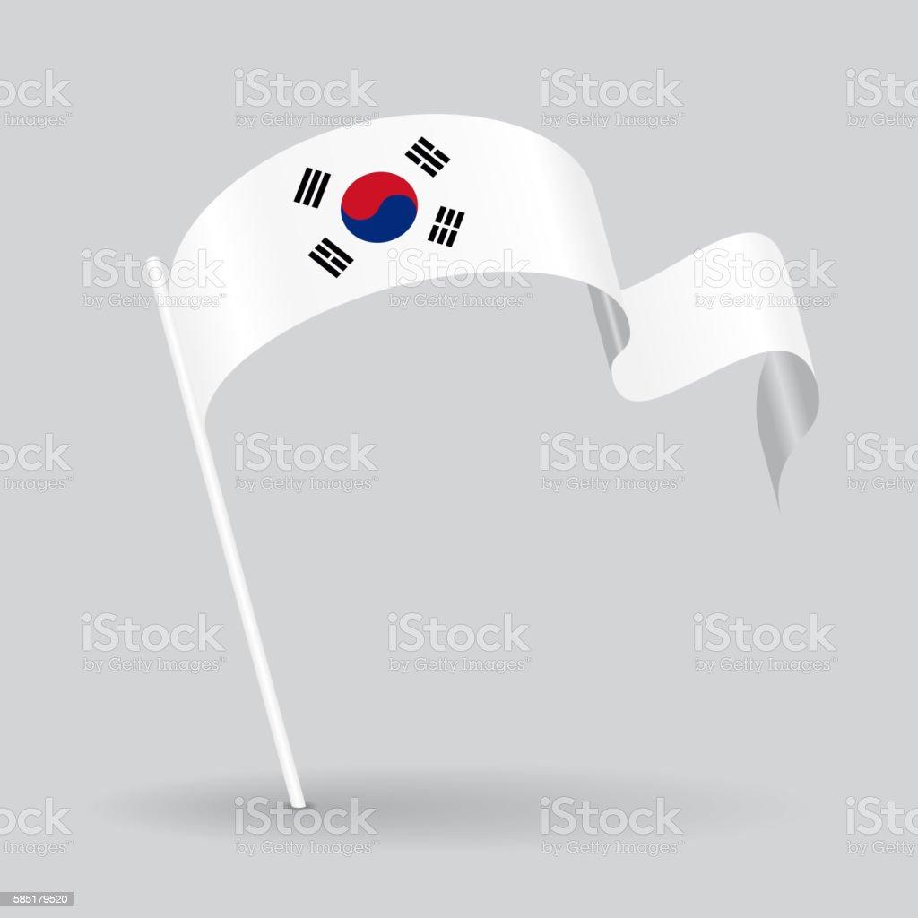 South Korean wavy flag. Vector illustration. - ilustração de arte em vetor