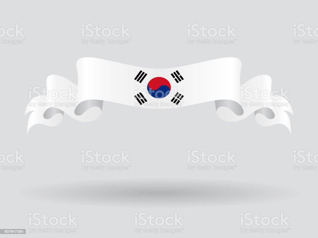 Ondulado bandeira sul-coreanos. Ilustração vetorial. - ilustração de arte em vetor
