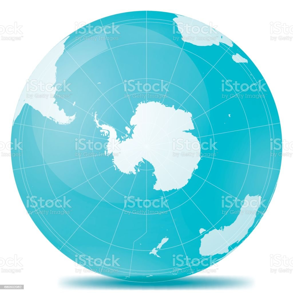 South Pole Planet Earth Blue White vector art illustration