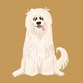South Russian Shepherd Dog. Vector character illustration