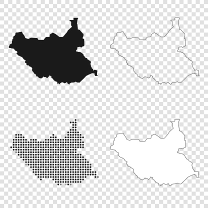 Map of South Sudan for your own design. With space for your text and your background. Four maps included in the bundle: - One black map. - One blank map with only a thin black outline (in a line art style). - One mosaic map. - One white map with a thin black outline. The 4 maps are isolated on a blank background (for easy change background or texture).The layers are named to facilitate your customization. Vector Illustration (EPS10, well layered and grouped). Easy to edit, manipulate, resize or colorize.