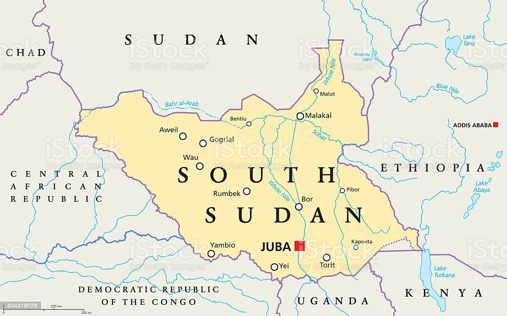 Africa Map With South Sudan.South Sudan Political Map Stock Illustration Download