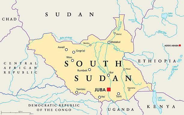 stockillustraties, clipart, cartoons en iconen met south sudan political map - zuid