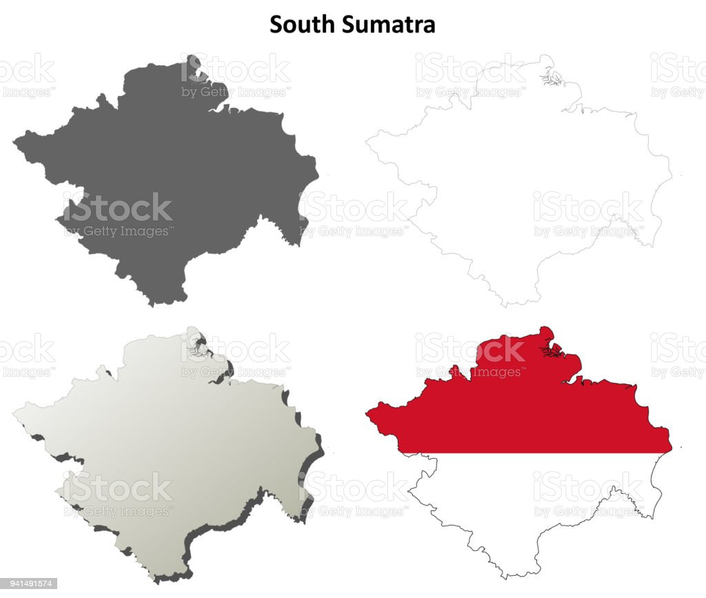 South Sumatra Blank Outline Map Set Stock Vector Art & More ... on